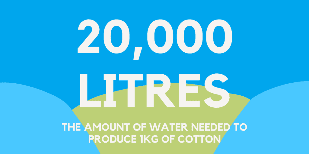 how much water it takes to produce 1kg of cotton (20,000 litres)