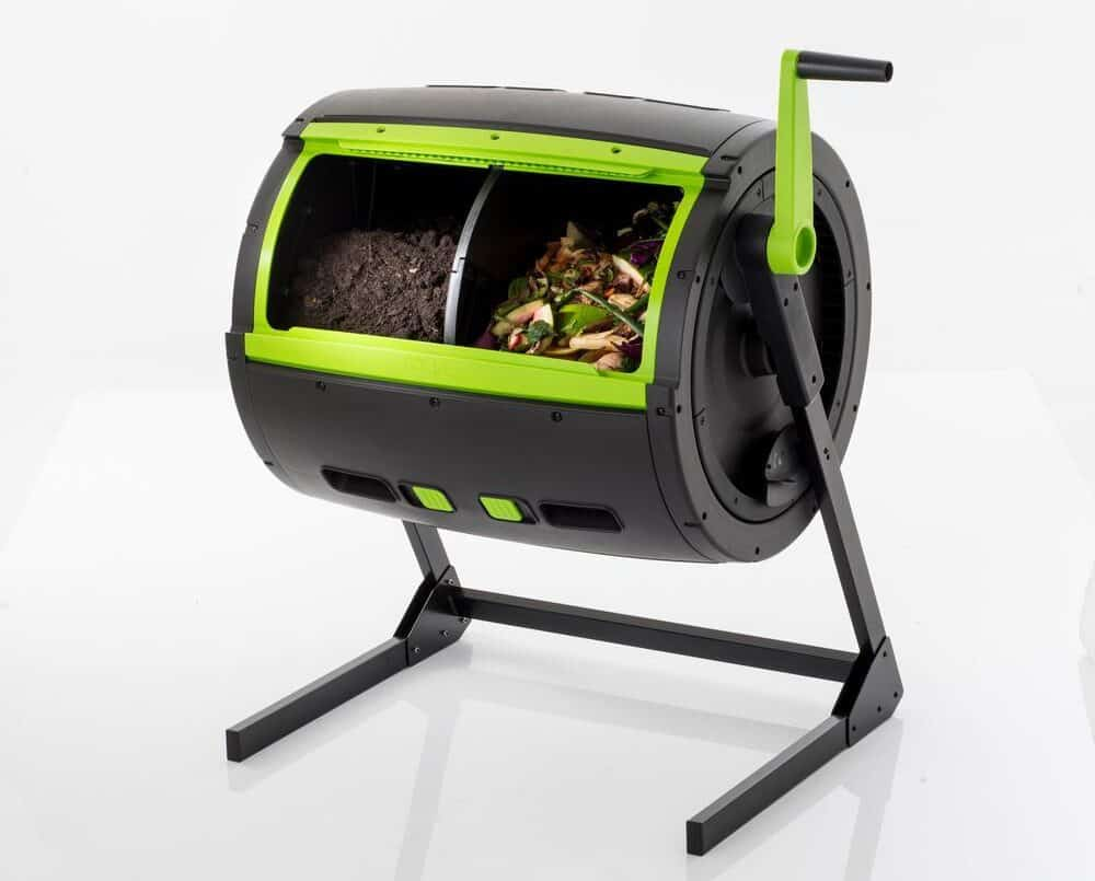 dual chamber compost tumbler with one side curing and one side with fresh waste