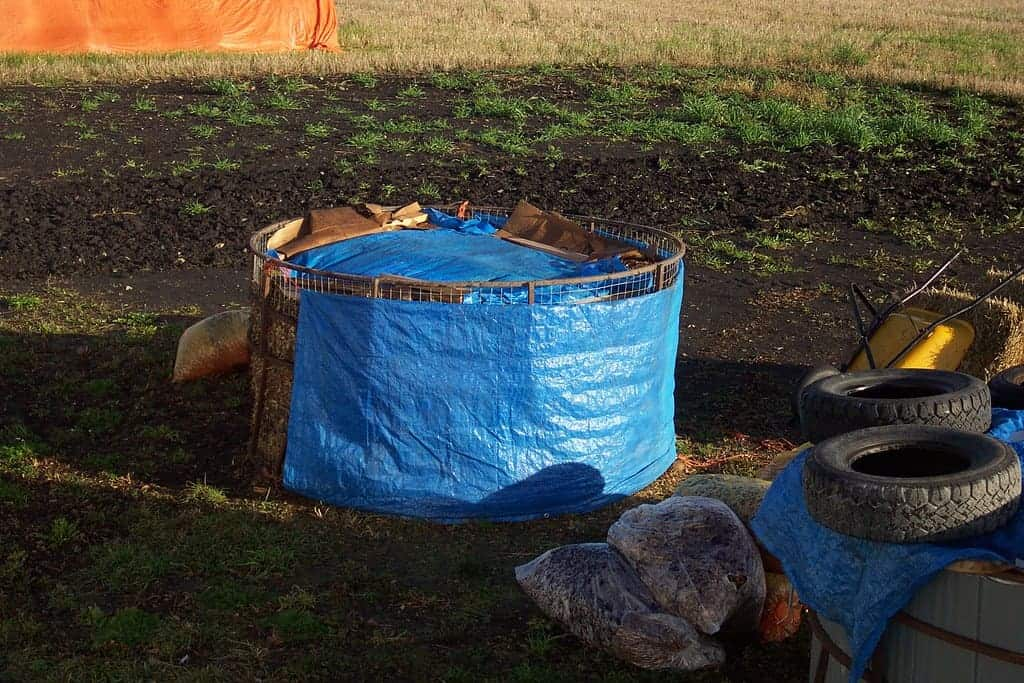 compost covered with tarp