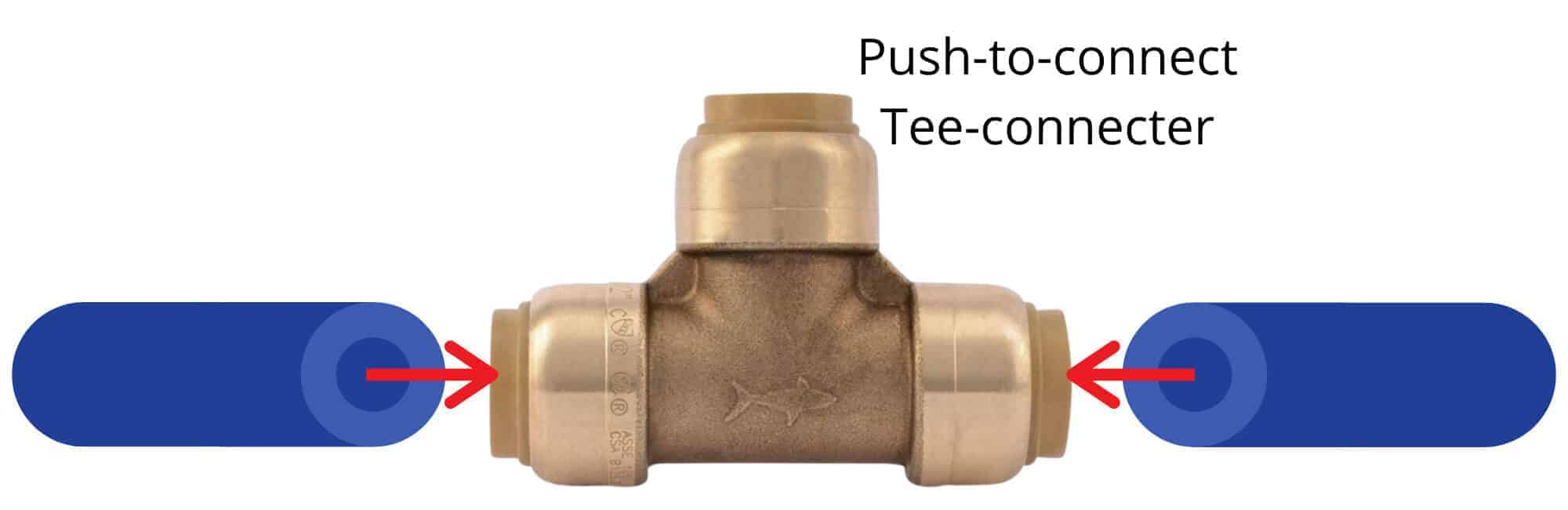 Attaching a cut PEX pipe to a push-to-connect tee-connecter