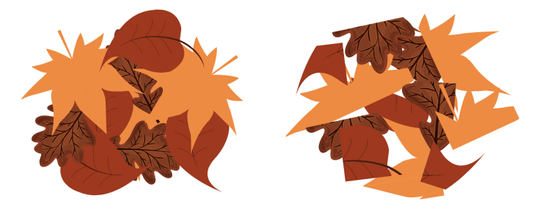 A layer of whole leaves has no gaps vs a layers of shredded leaves with gaps