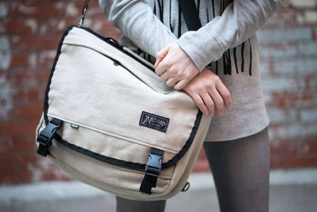 hemp vegan messenger bag