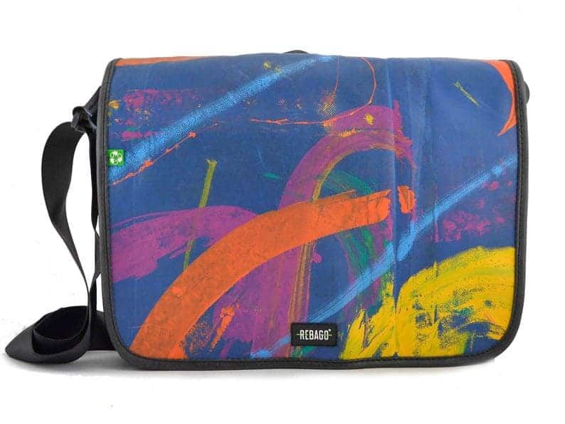 recycled truck tarp vegan messenger bag